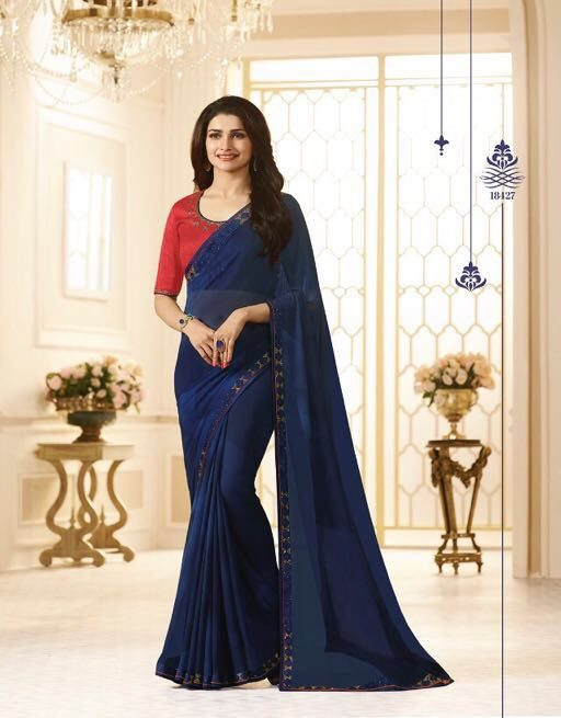 Prachi Desai Style Royal Designer Saree Indigo Colour