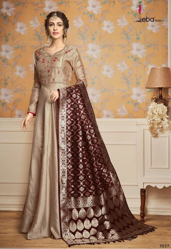 Rosy brown Wedding Party Wear Gown