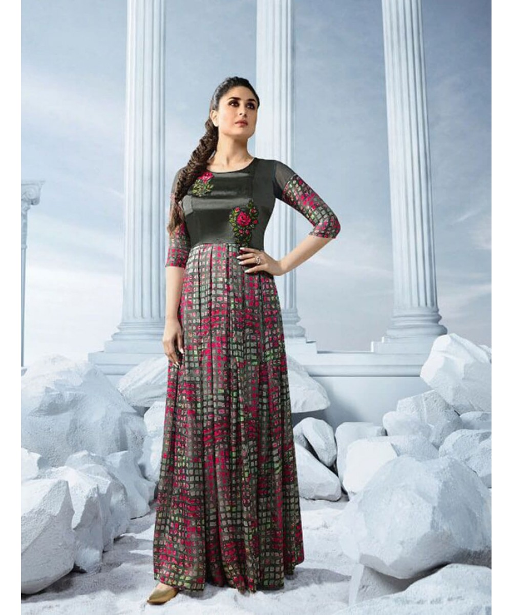 Bollywood Style Kareena Bebbo Gown in Grey Colour