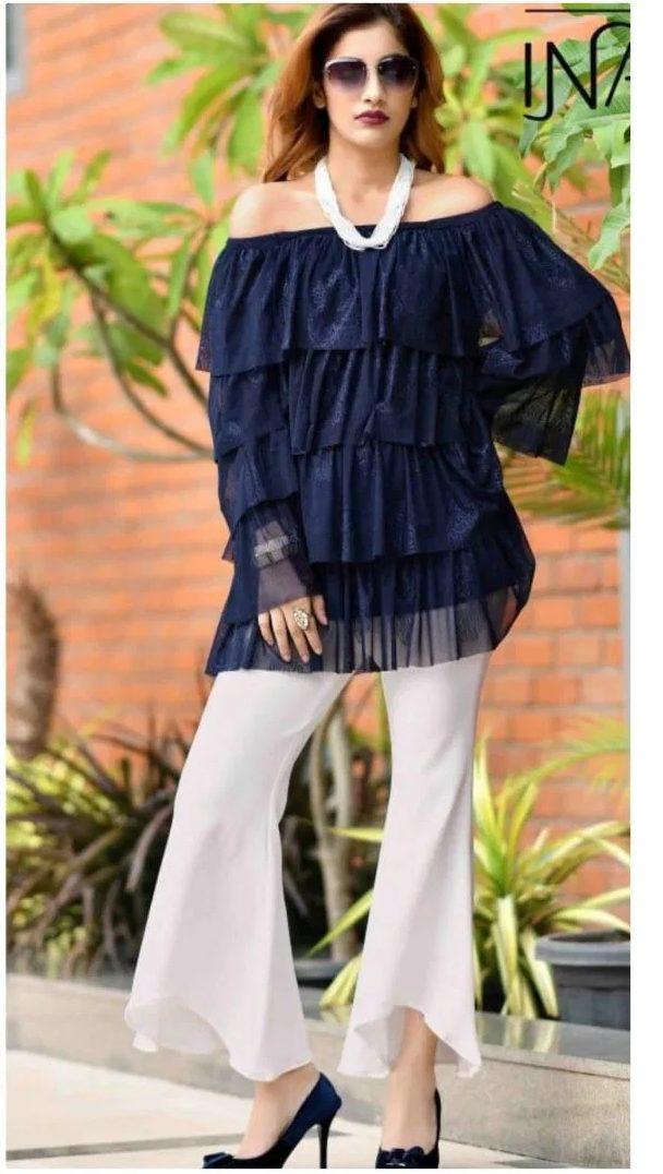 New Fashion Designer Inaya Blue Top with White Pant