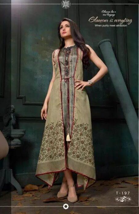 New Fancy Pragya Style Designer Kurti in Brown Colour