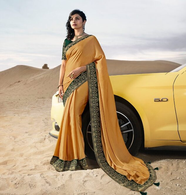 Heavy Embroidered Saree With Heavy Embroidered Blouse in Yellow Colour