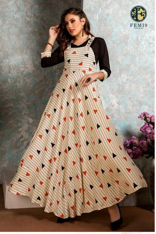 New Fancy Anarkali Style Kurti in Light Colour