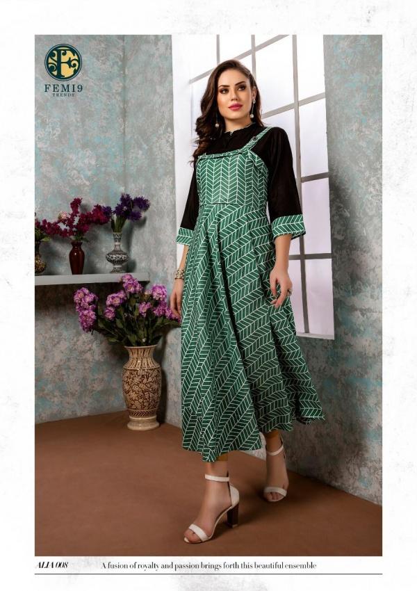 New Fancy Anarkali Style Kurti in Jade Colour