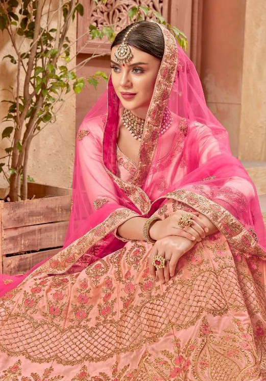 Peach Colour Ring Ceremony Party Wear Lehenga