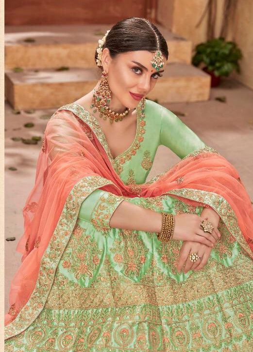 Baby Green Reng Ceremony Party Wear Lehenga