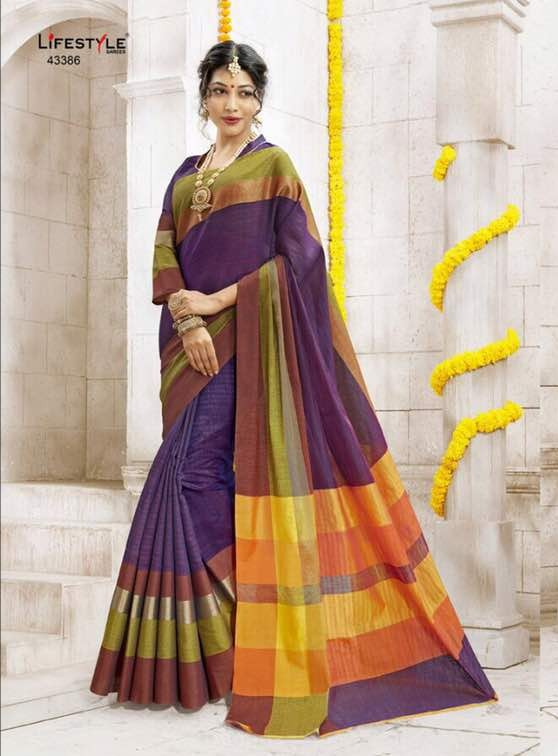 Silk Cotton Latest Designer Saree in Lavender Colour