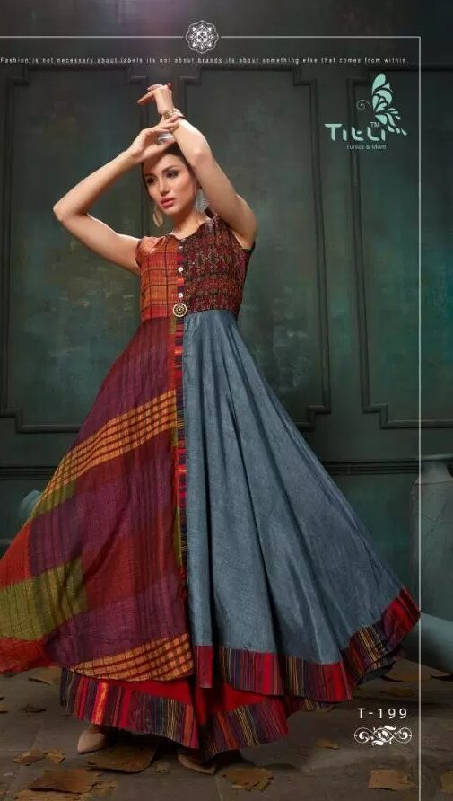 New Fancy Pragya Style Designer Kurti in Check Print Colour