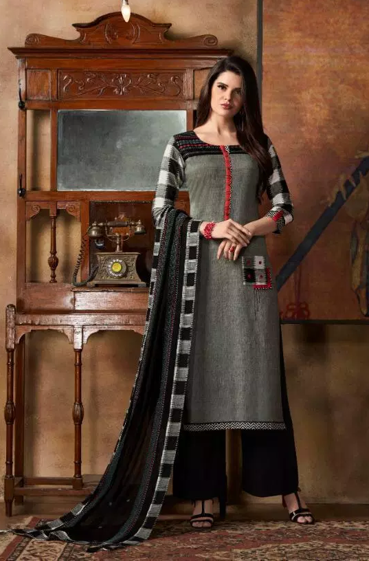 New Fancy Printed Salwar Suits With Dupatta in Gray Colour