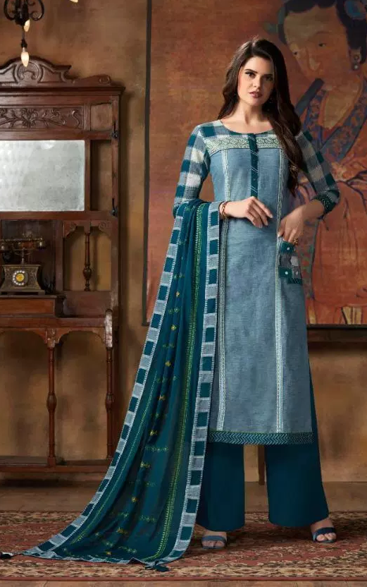 New Fancy Printed Salwar Suits With Dupatta in Seagreen Colour