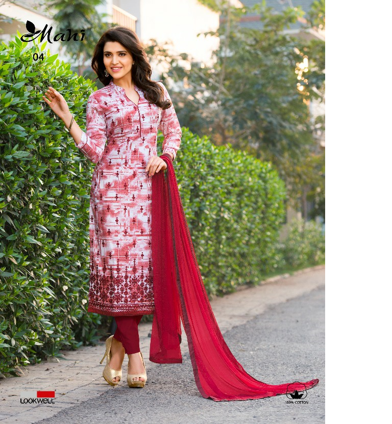 Maroon Colour Cotton Salwar Suits  With chiffon Dupatta