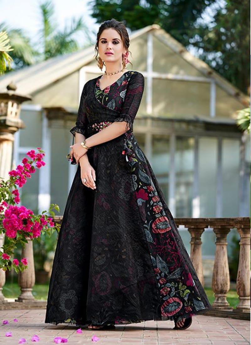 Wedding Party Wear Organza Black Printed Latest Fashion Gown