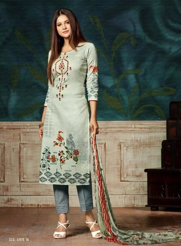Digital Embroidered Work Salwar Kameez with Dupatta