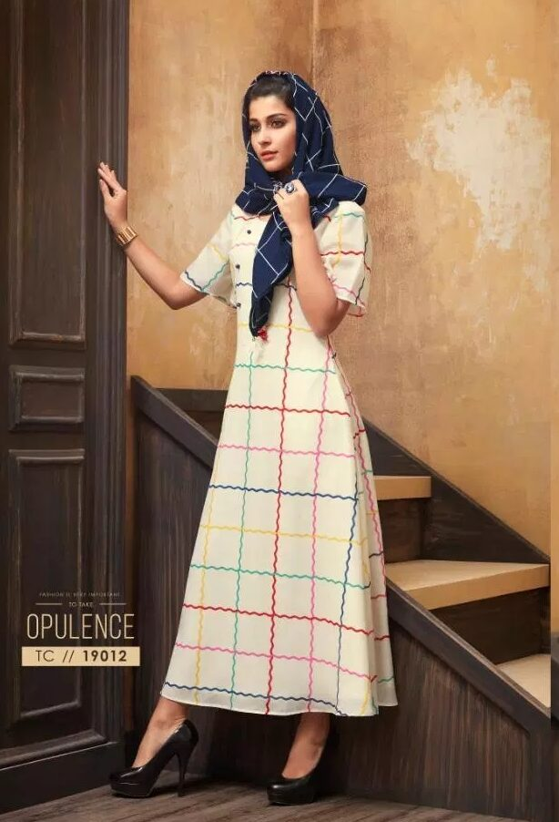 Muslin Printed Latest Designer Kurti Collection with Pretty Scarf