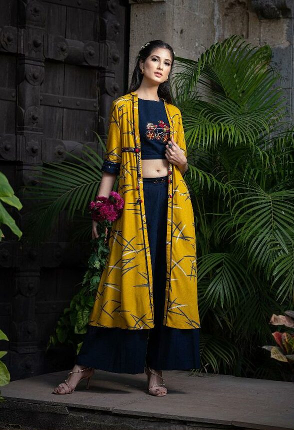 Palazo Pants with Embroidered Blosue and shrug in Yellow Colour