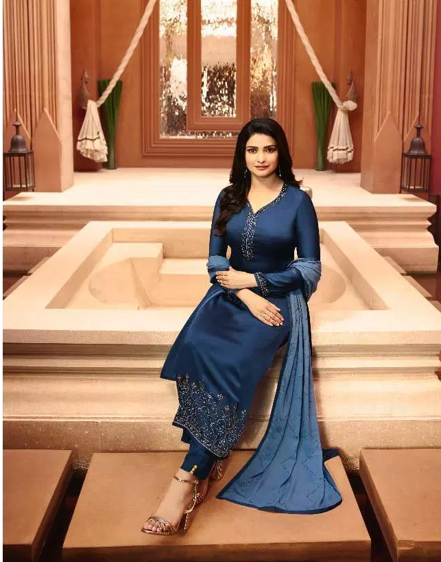 Steelblue Colour Lolipop Embroidered Salwar Kameej with Heavy Embroidered Dupatta