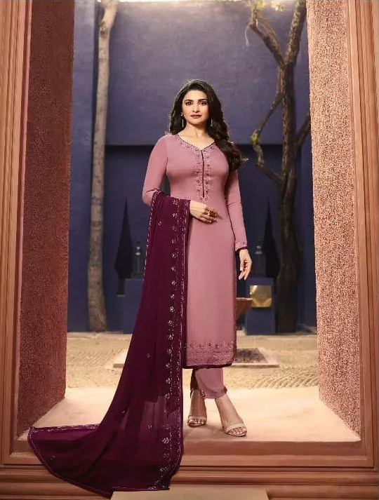 Lolipop Rich Look Prachi Desai Style Heavy Embroidered Pink Colour Salwar Kameez