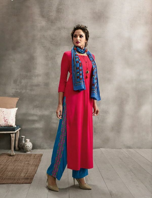 Ruby Colour Long Kurta with Scarf and Embroidered Pallazo