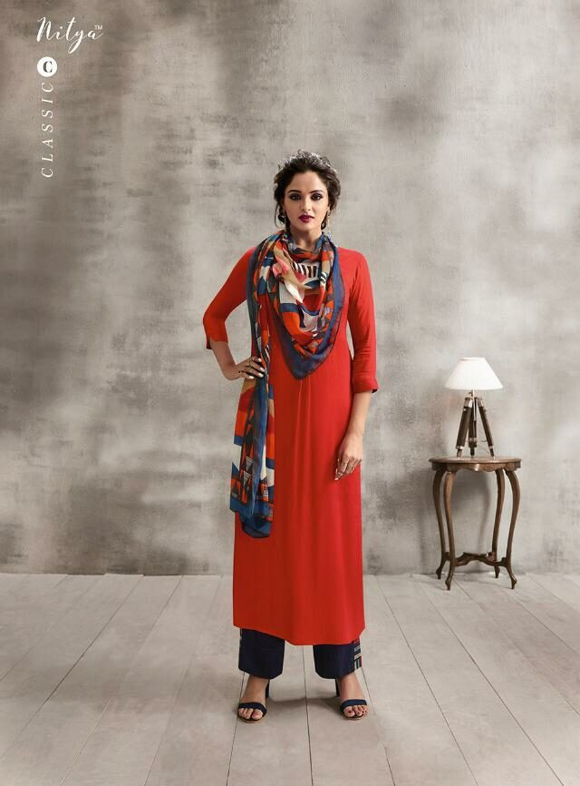 Red Carmine Long Kurta with New Fancy Plazo with Mal Mal Scarf