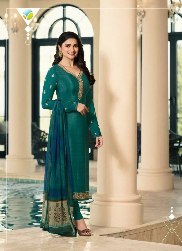 Jade Colour Prachi Desai Style Party Wear Salwar Kurta