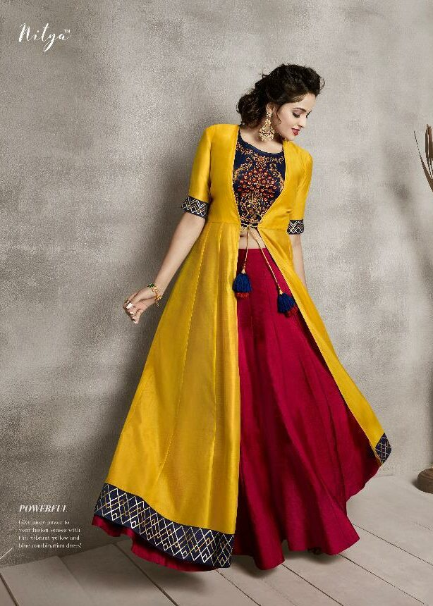Shahi Indian Beauty Yellow with Maroon Combine Wedding Dress