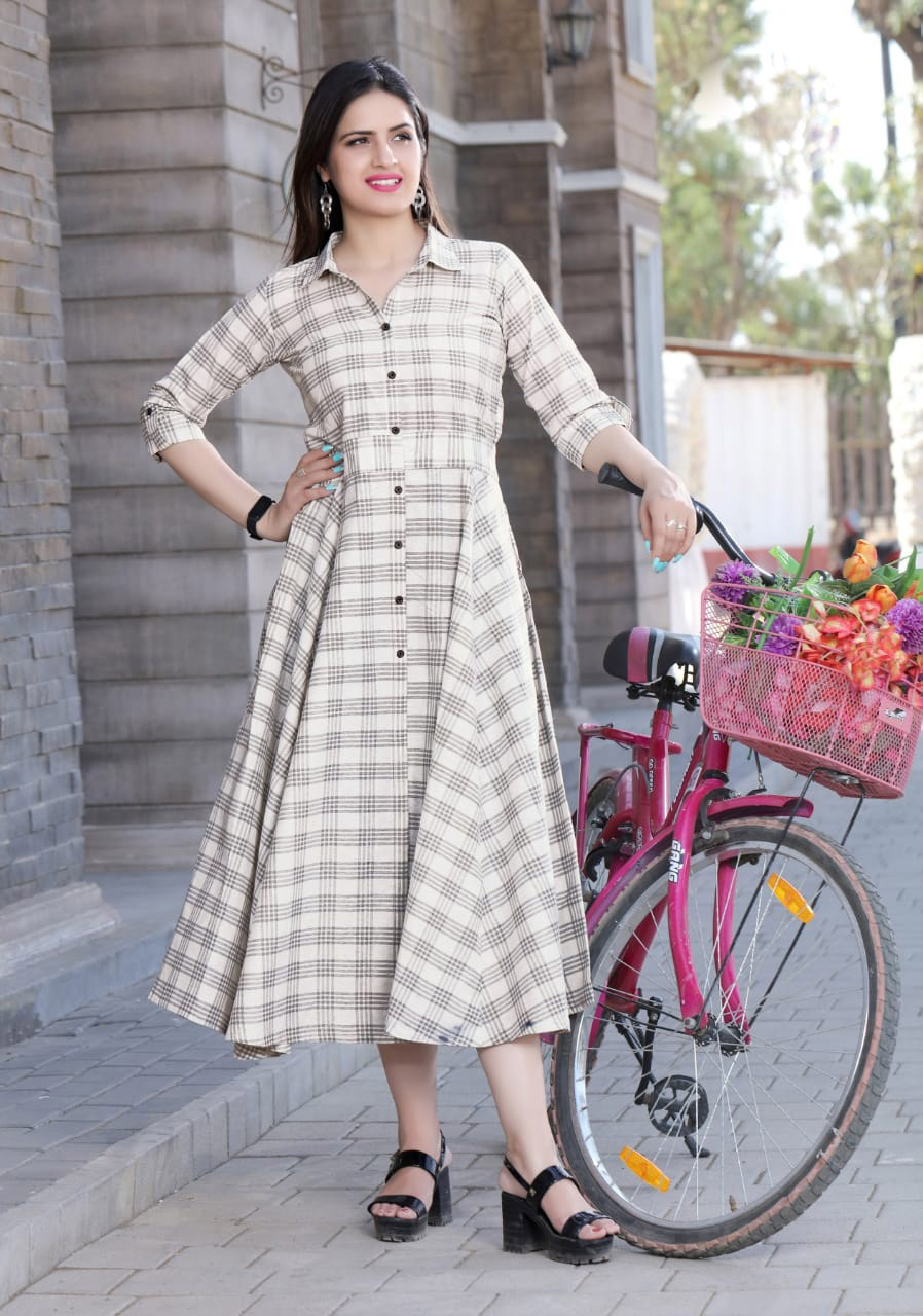 Latest Check Print Cotton Long Cream Colour Kurti with Belt