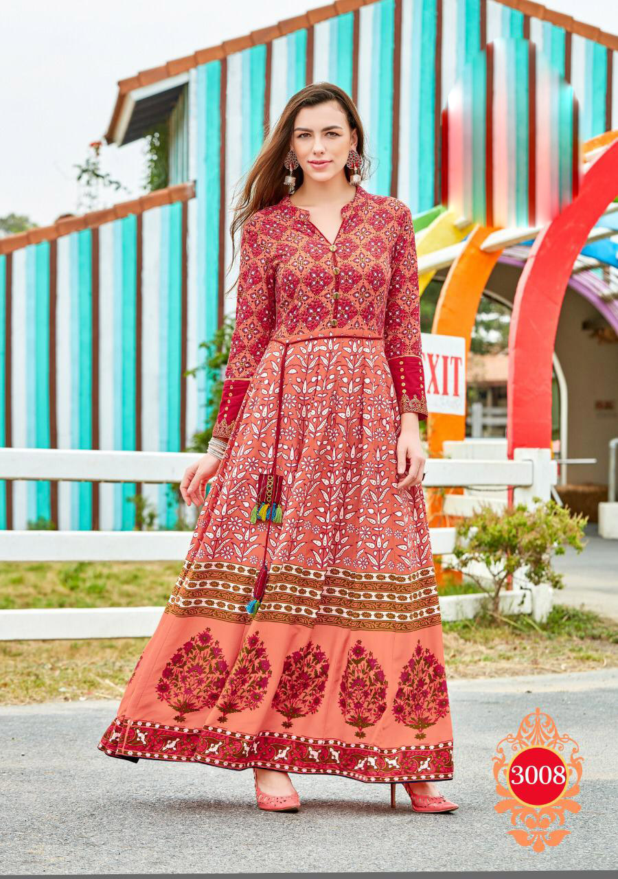 Latest Fashion Anarkali Style Knee Length Kurta Carrot Colour