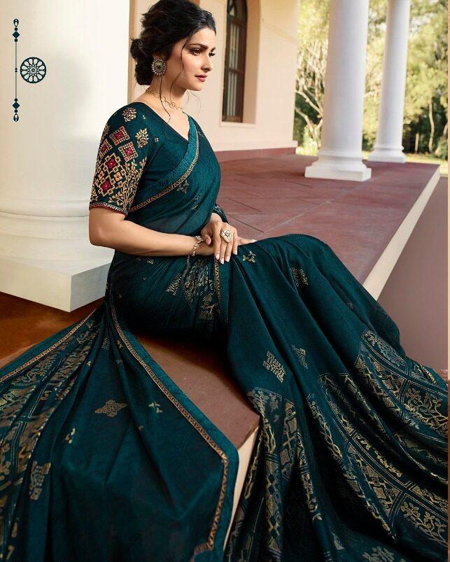Prachi Desai Jade Colour Sequence Saree