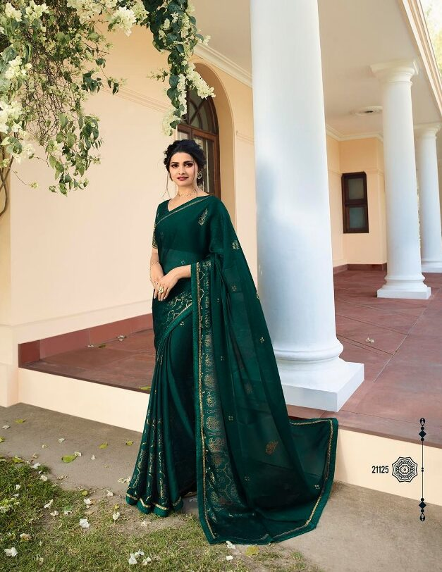 Prachi Desai Style Dark Green Sequence Saree