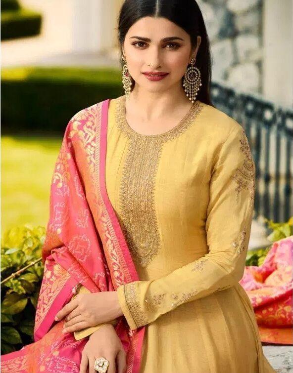 Prachi Desai Style Bollywood Party Wear Gown for Haldi Ceremony