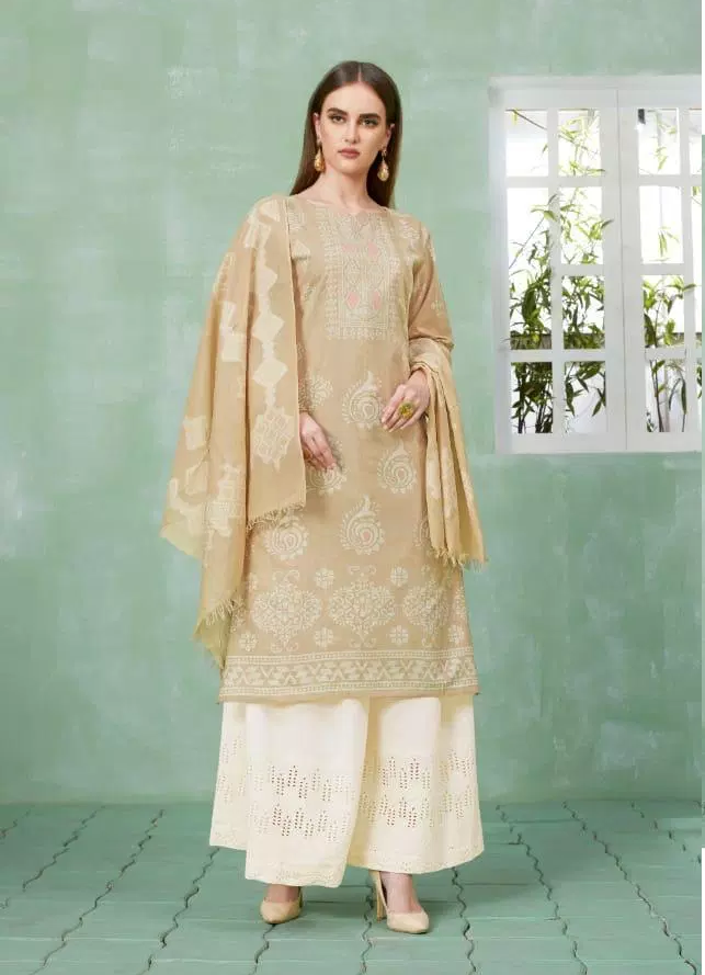 Best Plazo Salwar Suits in Cream and White Plazo with Dupatta