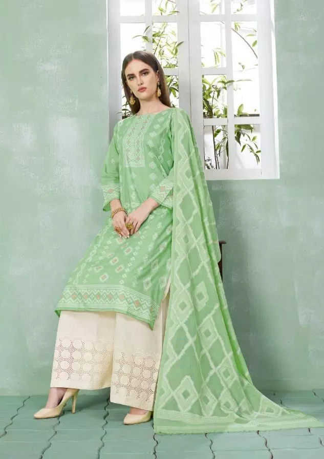 Best Plazo Salwar Suits in Lime Green and White Plazo with Dupatta