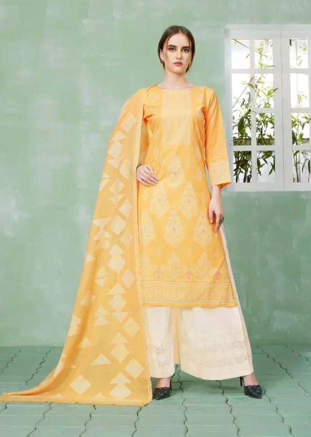 Best Plazo Salwar Suits in Lime and White Plazo with Dupatta