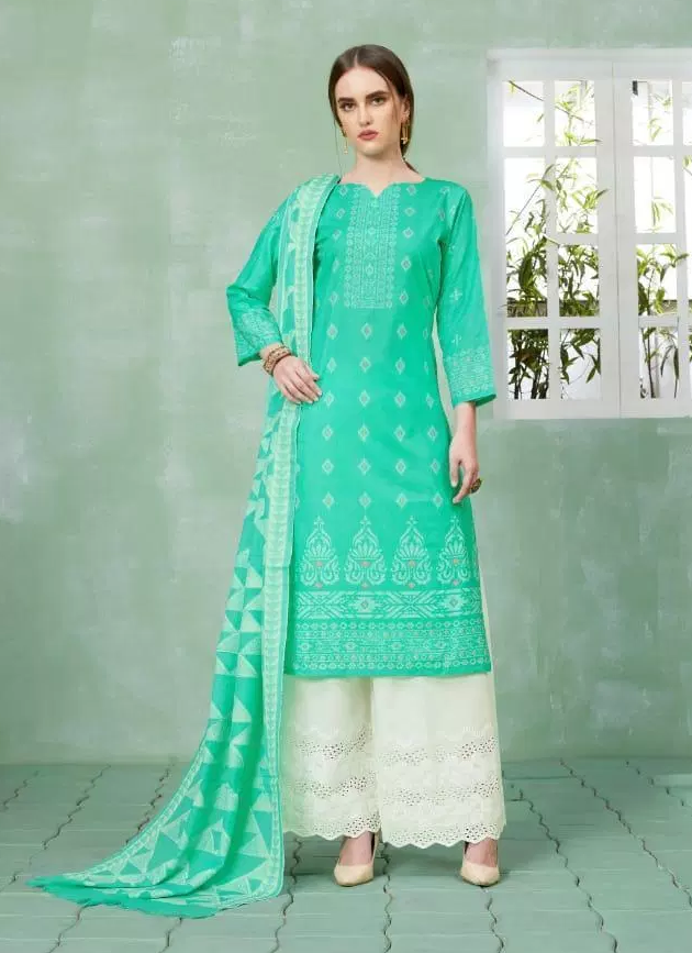 Best Plazo Salwar Suits in Turquoise and White Plazo with Dupatta
