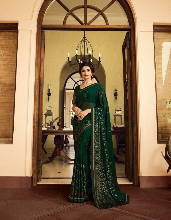 Essence Royal Designer Forestgreen Sequence Saree in Prachi Desai Style