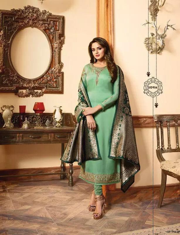 Heavy Embroidery Wedding Party Wear Aqua Colour Salwar Suits with Banarasi Dupatta