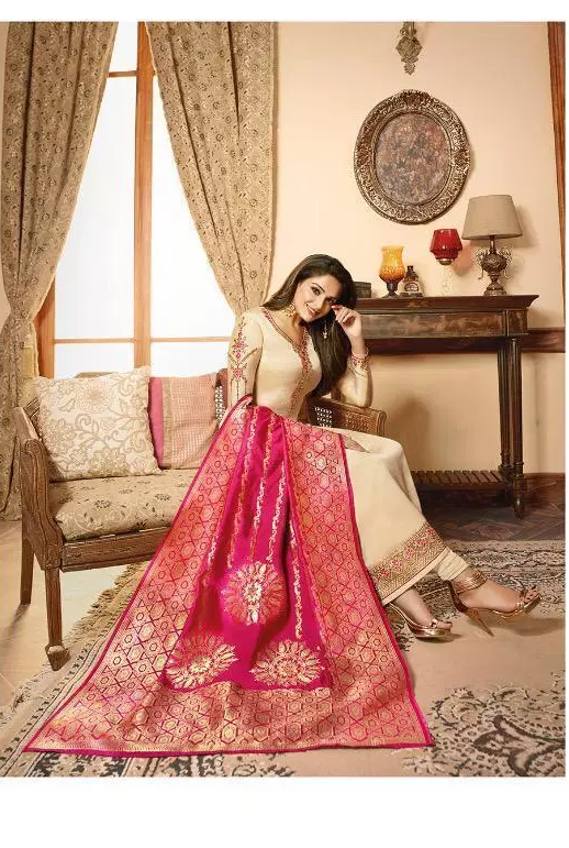 Heavy Embroidery Wedding Party Wear Cream Colour Salwar Suits with Banarasi Dupatta