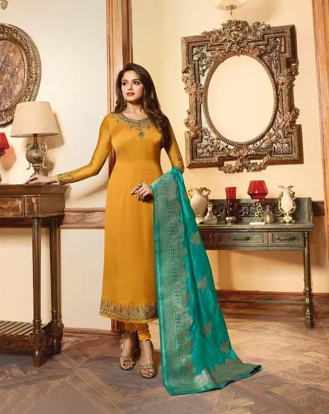 Heavy Embroidery Wedding Party Wear Gold Yellow Colour Salwar Suit with Banarasi Dupattata