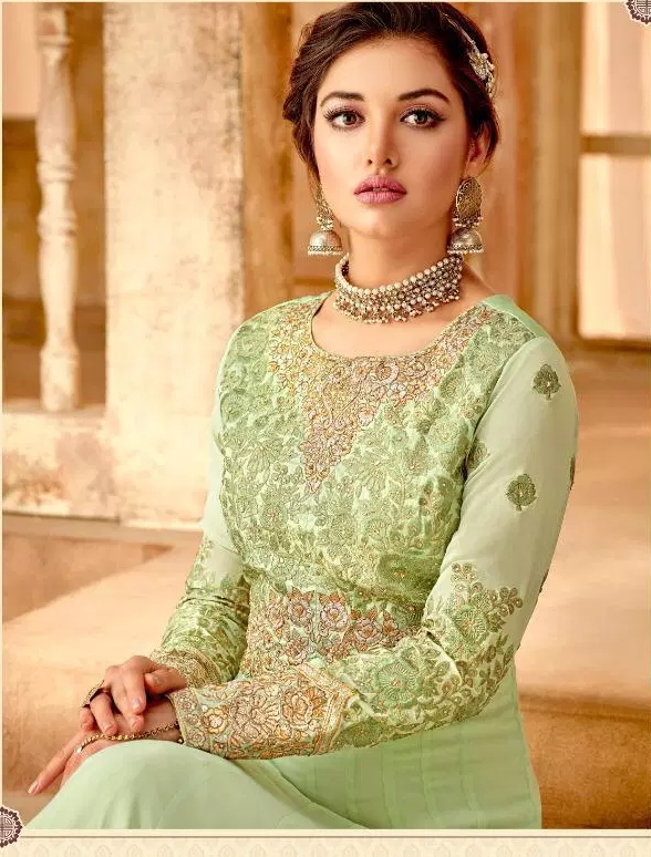Light Green New Latest Designer Long Party Wear Gown