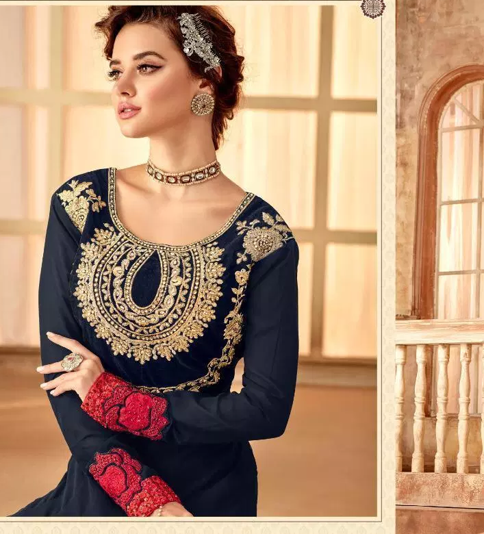 Navy Blue Mehndi Ceremony Latest Designer Long Gown