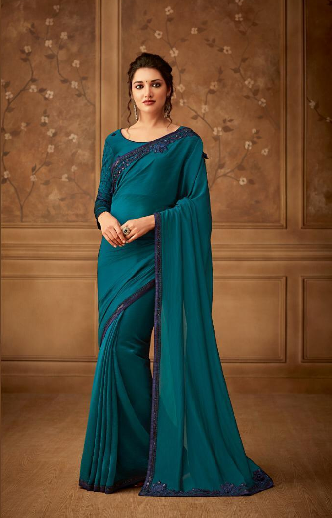 New Bela Stylish Party Wear Dark Turquioes Colour Sarees