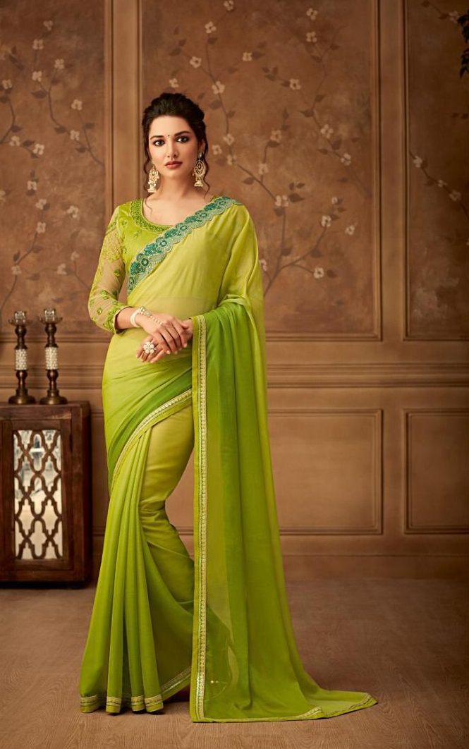 New Bela stylish Party wear Green Yellow Colour Sarees