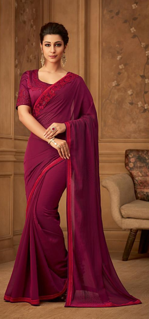 New Bela Stylish Party wear Hot Pink Colour Sarees