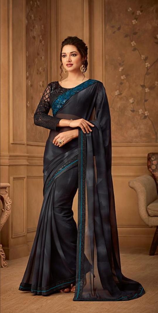 New Bela stylish party wear Black Colour sarees