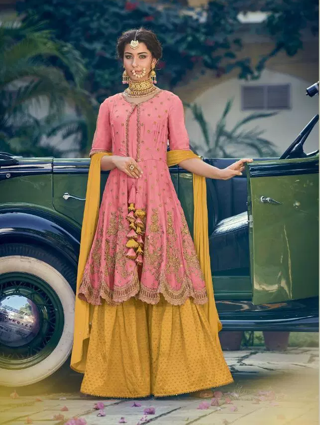New Fancy Dark pink colour sarara Salwar suit