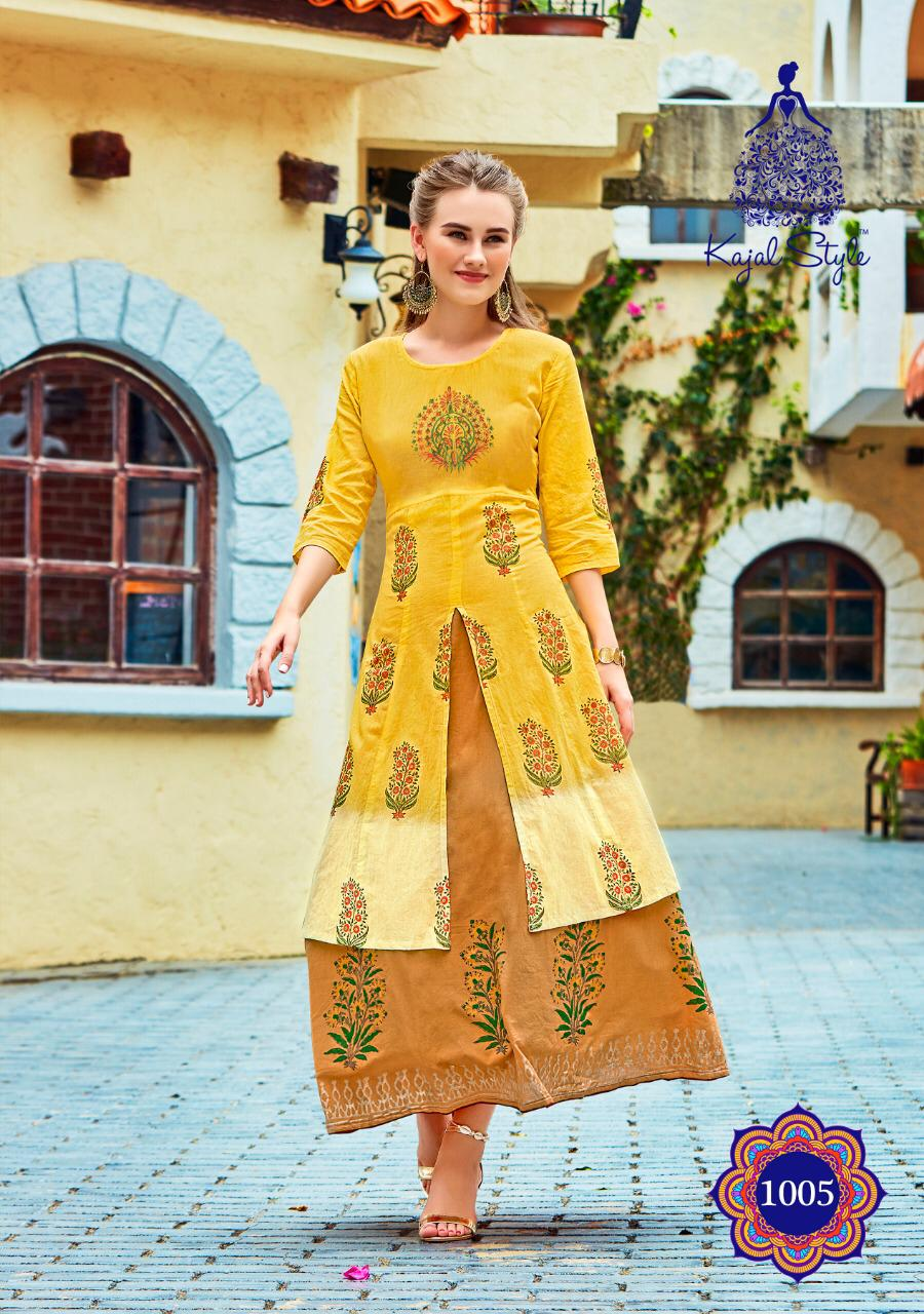Yellow Colour Boat Neck Update Fashion Kurta in Double Layered
