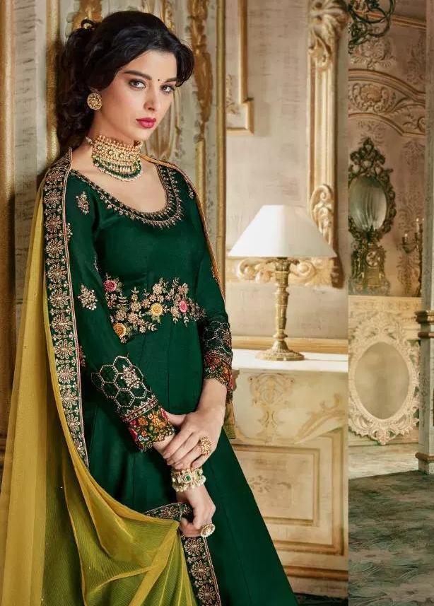 New Stylish Wedding Dark Green Gown