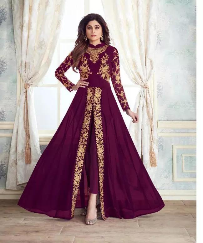 Purple Colour New Designer long Crop Gown