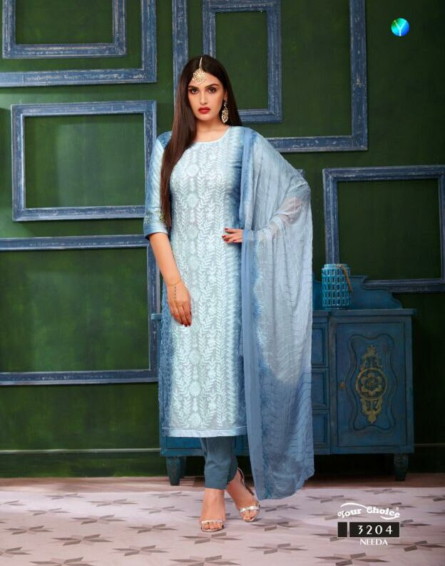 Shahi Collection Pure Cotton Babby Blue Colour Best Salwar Suits with Chiffon Dupatta