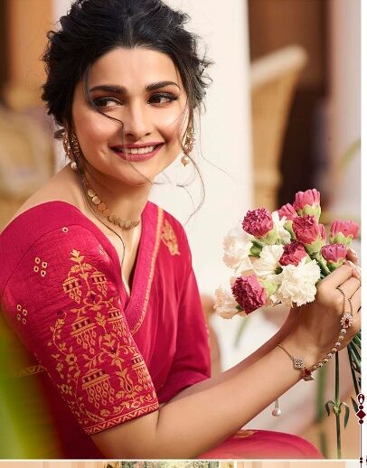 Bollywood Style Sequence Pink Saree with Blouse